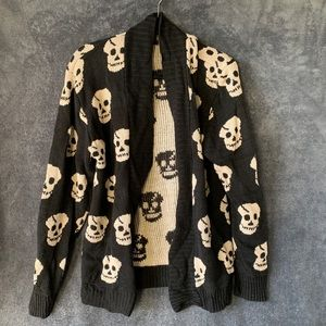 Other - Cream and black skull open cardigan